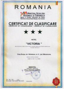 Certificat clasificare Hotel Victoria Borsa