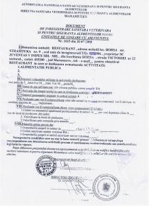 Autorizatie sanitar veterinara Hotel Victoria Borsa